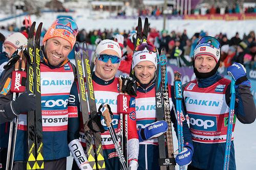 Norges vinnerlag i verdenscupstafetten på Beitostølen 2018. FV: Emil Iversen, Finn Hågen Krogh, Sjur Røthe og Martin Johnsrud Sundby. Foto: Modica/NordicFocus.