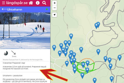 Live-Message senter fra Längdspår.se, den svenske GPS-tjenesten for tracking av skiløyper. Levert av norske Løyper.net og FMS Nordic.