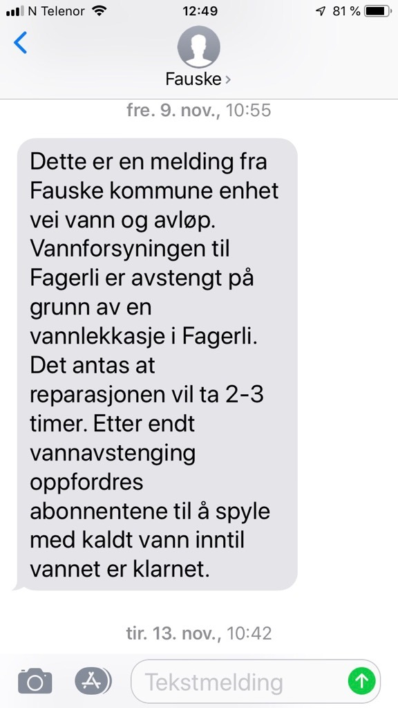 UMS SMS melding fra Fauske kommune