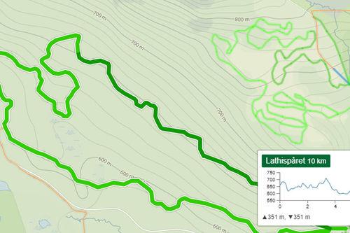 Illustrasjonsbilde fra Längdspår.se sitt kartbilde over Vålådalen i Sverige hvor skiløyper GPS-trackes av den norske tjenesten. Grafikk fra Längdspår.se.