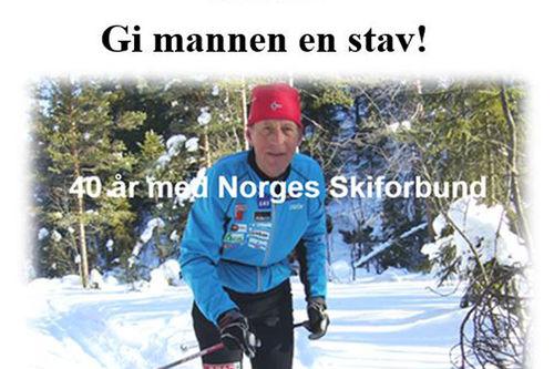Utsnitt av omslaget til Per Nymoens bok, Gi mannen en stav, som utgis på Faglitterært Forlag.