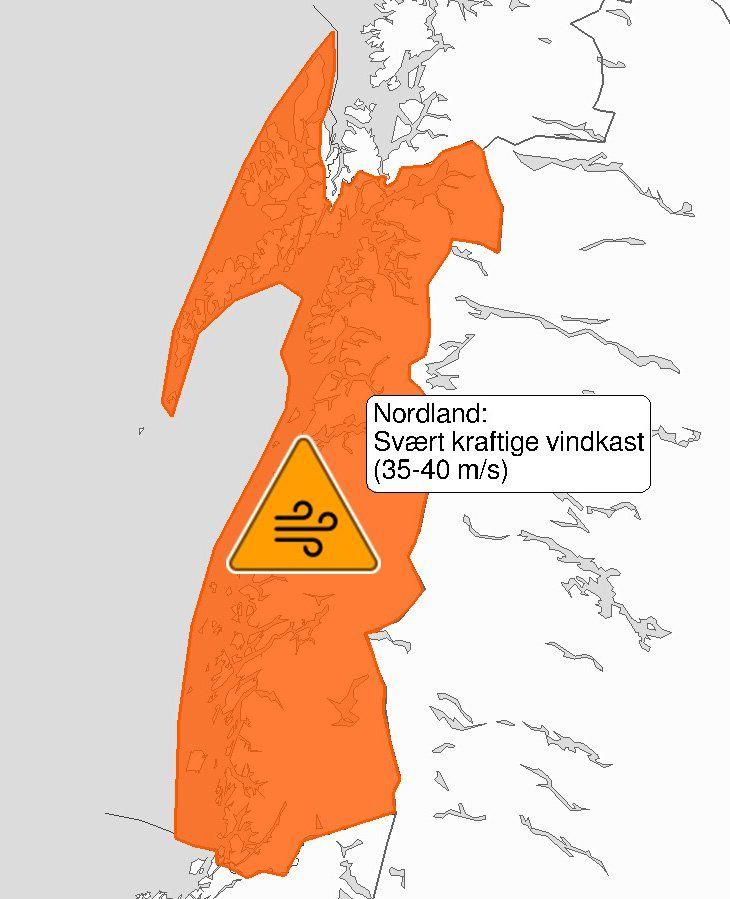 Farevarsel for Nordland - kart fra Meteorologisk institutt