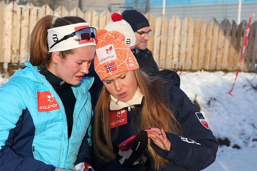 Landslagstrener Monika Kørra (th) er klar for sin ilddåp på et mesterskap. Tuva Bakkemo fra Gjøvik er av de 15 utøverne som deltar i Junior-VM 2019. Foto: Erik Borg.