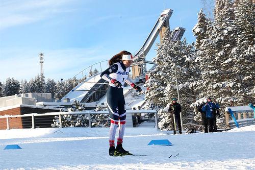 Kristine Stavås Skistad i Lahti under sprintprologen i juniorenes verdensmesterskap 2019. Foto: Erik Borg.