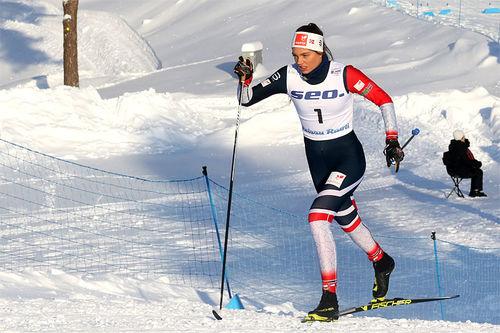 Kristine Stavås Skistad under sprinten i Junior-VM 2019 i Lahti, hvor det endte med V-gull for løperen fra Konnerud. Foto: Erik Borg.