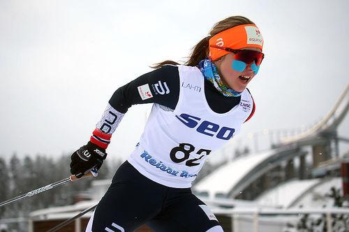 Helene Marie Fossesholm på vei mot sølv på 5 km fri under Junior-VM i Lahti 2019. Foto: Erik Borg.