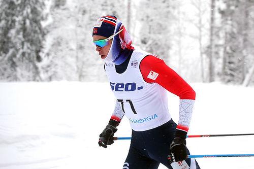 Harald Østberg Amundsen på vei mot sjetteplass på 15 km fri under U23-VM i Lahti 2019. Foto: Erik Borg.