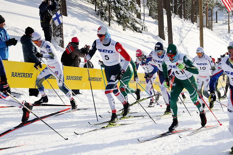 Håvard Moseby, i norske farger, på vei mot sølv på 30 km fellesstart i klassisk stil under Junior-VM i Lahti 2019. Foto: Erik Borg.