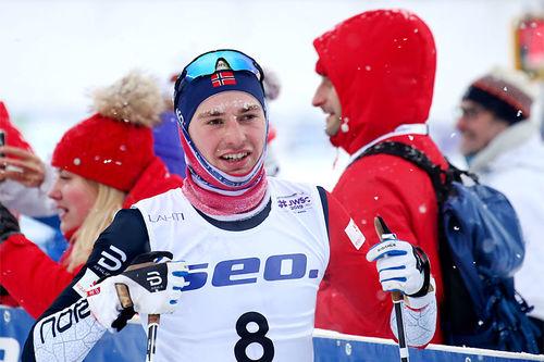 Thomas Bucher-Johannessen i den 30 km lange fellesstarten under U23-VM i Lahti 2019. Foto: Erik Borg.