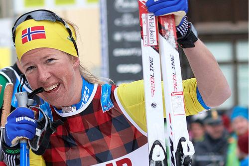 Astrid Øyre Slind etter sin 3. plass i Marcialonga 2019. Foto: Rauschendorfer/NordicFocus.