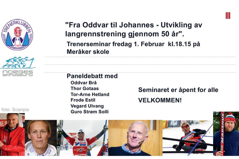 Plakat for Trenerklubben og Skiforbundets paneldebatt under NM på Ski Meråker 2019.