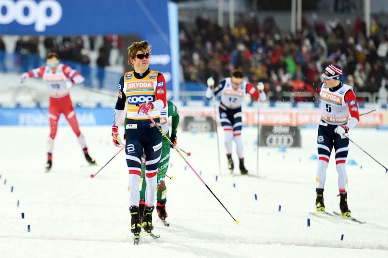 Johannes Høsflot Klæbo inn til sprintseier i verdenscupen i Lahti 2019. Foto: Modica/NordicFocus.