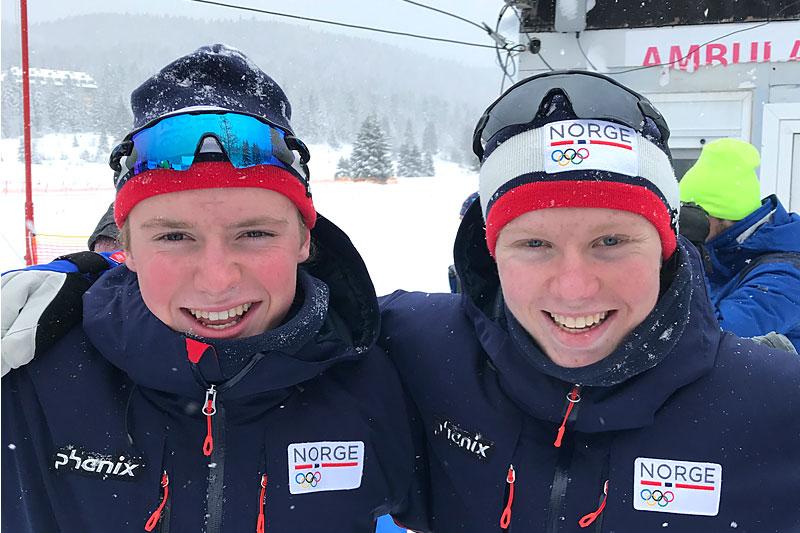 Martin Kirkeberg Mørk (th) kapret gullmedaljen i EYOF 2019 på 7,5 km fri, mens Edvard Sandvik  gikk inn til sølv. Foto: Privat.