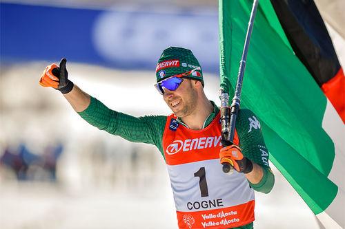 Federico Pellegrino etter sin sprintseier i verdenscupen i Cogne 2019. Foto: Thibaut/NordicFocus.