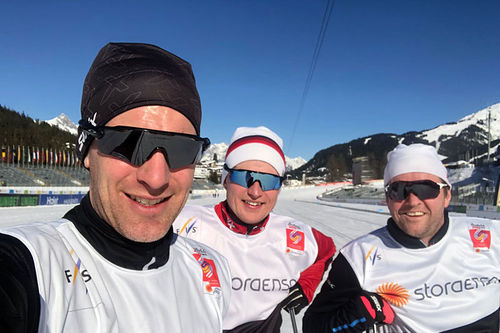 Morten Sætha, Henrik Johnsen og Terje Smevold fra Swix Racingservice tester smurning i løypene for VM Seefeld 2019. Foto: Swix Sport.