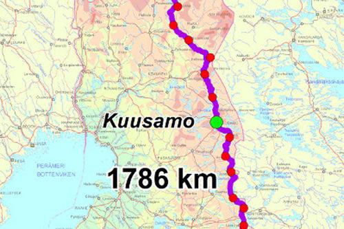 Finland på langs, turen Virolahti – Arctic Ocean. Kartutsnitt fra www.hhs-ski.net.