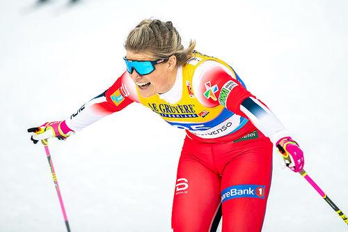 Mari Eide gikk inn til bronse på VM-sprinten i Seefeld 2019. Foto: Modica/NordicFocus.