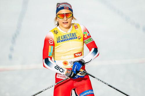 Maiken Caspersen Falla vant sprinten under VM i Seefeld 2019. Foto: Modica/NordicFocus.