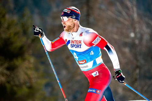 Martin Johnsrud Sundby på vei mot bronse i skiathlon under VM i Seefeld 2019. Foto: Modica/NordicFocus.