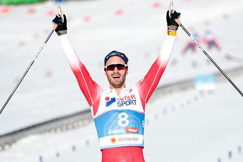 Hans Christer Holund går inn til gull på femmila under VM i Seefeld 2019. Foto: Modica/NordicFocus.