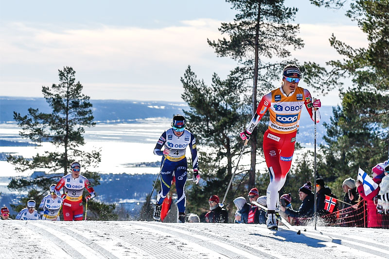 Ingvild Flugstad Østberg underveis på 30 km i Holmenkollen 2019 hvor det endte med 4. plass for ekspressen fra Gjøvik. Foto: Thibaut/NordicFocus.