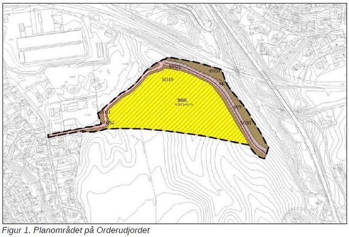 Orderudjordet - figur 1 - planområde