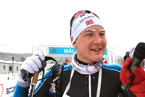 Simen Sveen etter den suverene seieren i SkøyteBirken 2019. Ring-løperen var mer enn 10 minutter foran nestemann i mål. Foto: Ingeborg Scheve.