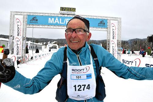 Gunnar Tronsmoen gjennomførte Birken 2019 som klassevinner i Menn 90-94 år. Foto: Ole Christian Nymoen.