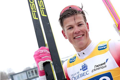 Johannes Høsflot Klæbo etter sin solide sprintseier i verdenscupen i Quebec 2019. Foto: Modica/NordicFocus.