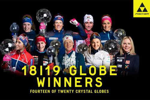 Fischer-utøvere som gikk til topps i ulike verdenscuper sesongen 2018-2019. Foto: Fischer/NordicFocus.
