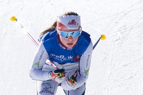 Skiløper fra Øvrevoll Hosle IL i farta. Foto: Jens Conradi.