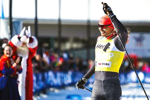 Andreas Nygaard inn til seier i Ylläs-Levi 2019. Nygaard sikret samtidig sammenlagtseieren i Ski Classics 2018/2019. Foto: Magnus Östh/Ski Classics.