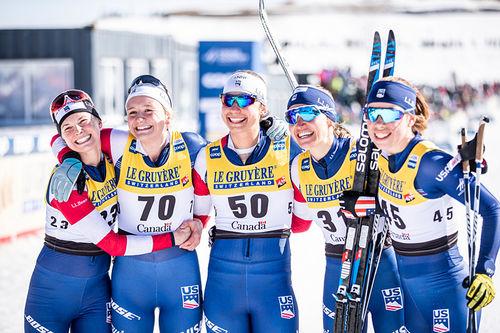 USA-damer under verdenscupfinalen i Quebec 2019. Fra venstre: Jessica Diggins, Sophie Caldwell, Sadie Bjornsen, Julia Kern, Alayna Sonnesyn og Katharine Ogden. Foto: Modica/NordicFocus.
