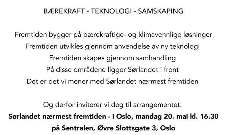 Sørlandet - nærmest fremtiden - info