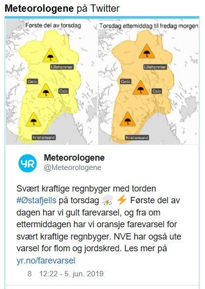 Melding fra Meteorologene på Twitter som varsler om uvær i sør-Norge