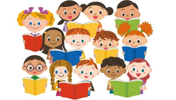 Illustrasjon av barn og bøker