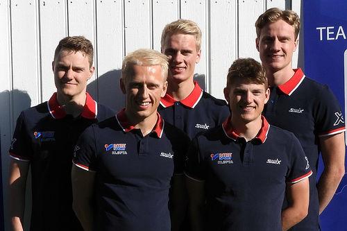 Lagbilde for Team AF Håndverk foran sesongen 2019/2020. Fra venstre: Johan Hoel, Magne Haga, Anders Haga, Herman Martens Meyer og Amund Hoel. Foto: Team AF Håndverk.