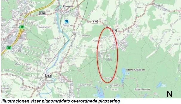 Ausenfjellet II næringsområdet - illustrasjon planområdet