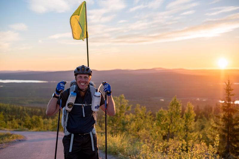 Fredrik Erixon går gjennom Sverige på rulleski på 30 dager. Foto: Privat.