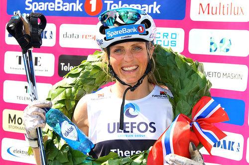 Therese Johaug fra da hun vant Kanalrennet 2019, under Sommarland Skifestival i Telemark. Arrangørfoto.