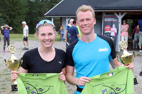 Vinnerne i Risberget Rundt 2019, Lene Ådlandsvik og Torstein Vestli, med seierspokalene. Ådlandsvik vant løpet for tredje gang. Hun vant også i 2013 og i fjor. Foto: Trond Nordbak Øsmundset.