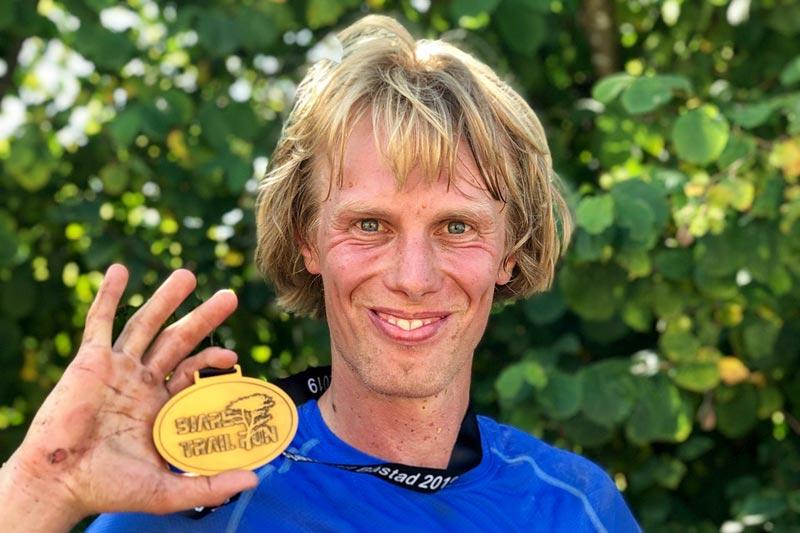 Erik Wickström etter sin seier i Bjäre Trail Run 2019. Foto: Magnus Bengtsson.