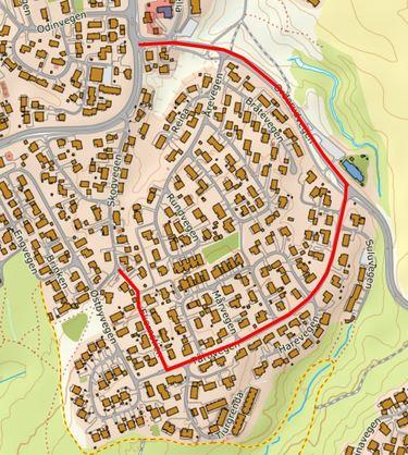 Heimlyvegen-Skogvegen - Kart for omkjøringsvei i forbindelse med arbeider i veien