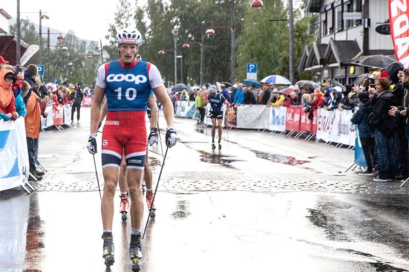 Pål Trøan Aune ble vinner av Coop Trysil Rulleskisprint 2019. Foto: Andreas Fausko / Destinasjon Trysil.