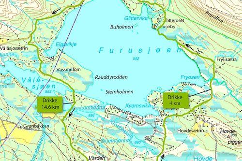 Utsnitt av løypekartet til Furusjøen Rundt-løpets 18 kilometer lange løype.