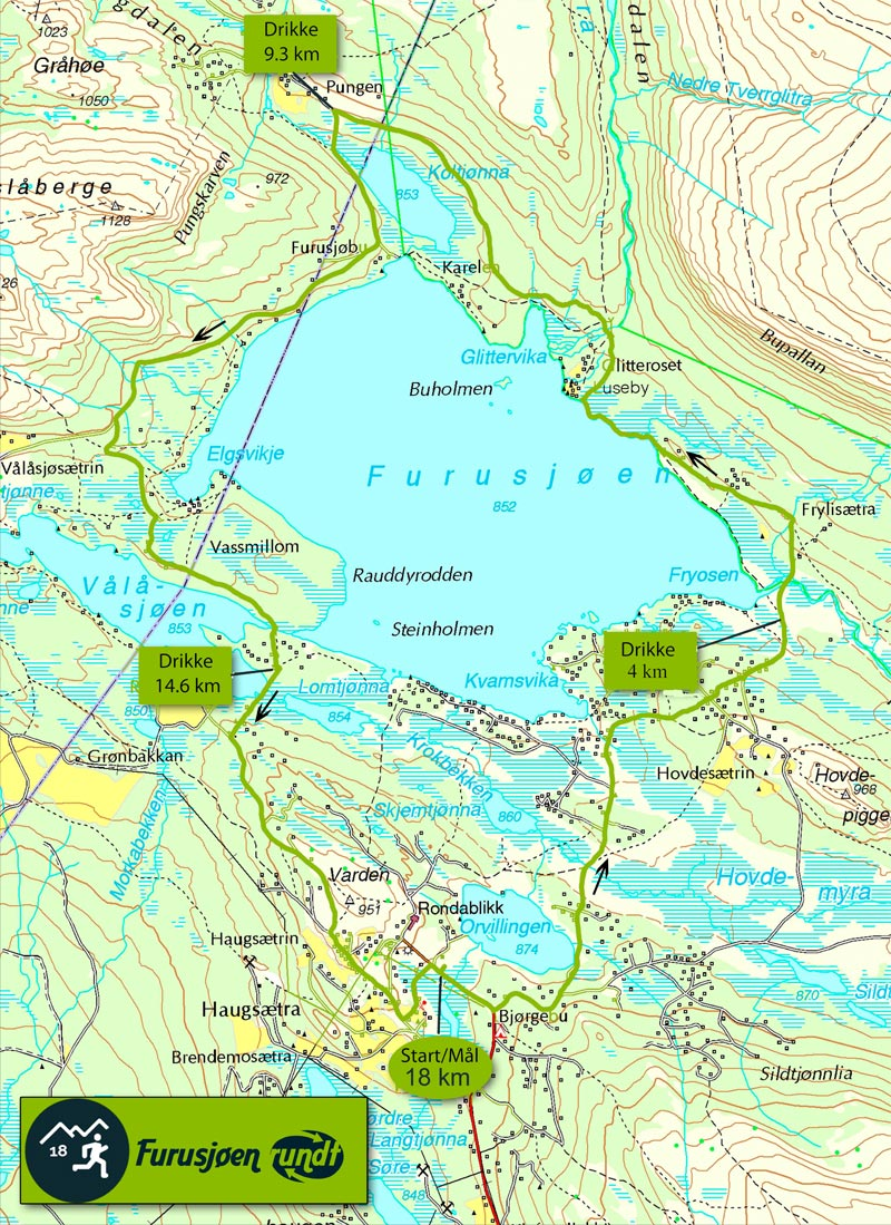 Løypekartet til Furusjøen Rundt-løpets 18 kilometer lange løype.