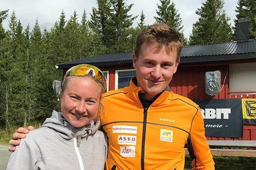 Alise Einmo og Ole Morten Flataker etter å ha vunnet Vennafjellet Opp 2019. Foto: Magnus Grøtte Renå.