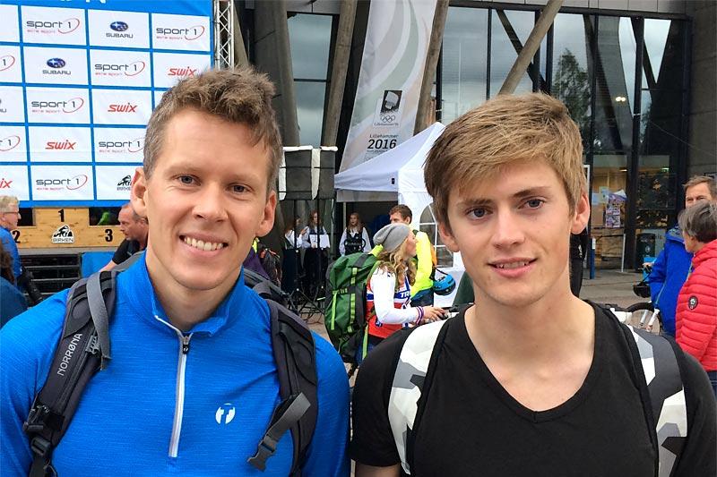 Anders Gløersen og John Magnus Haugen etter Birkebeinerrittet 2019. Haugen ble beste skiløper på 20. plass i rittet, mens Gløersen gikk til topps i Birkebeinertrippelen. Foto: Privat.
