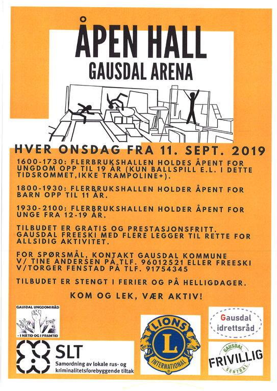 Plakat med informasjon om åpen hall