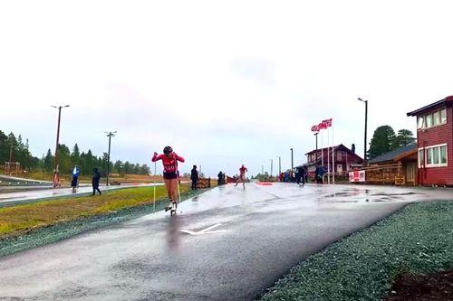 Rulleski i Meråker, fra åpningen av det nye anlegget i september 2019. Foto: Privat.
